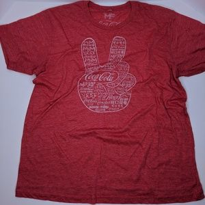 MF Coca Cola T-Shirt Red White Peace Sign Large